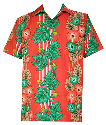 (Alvish Hawaiian Shirt 45 Mens Panel Floral Beach Aloha Party Camp Holiday Red)