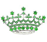 Soulbreezecollection Princess Crown Tiara Brooch Pin Wedding Bridesmaid Clear Rhinestones Jewelry (Green)