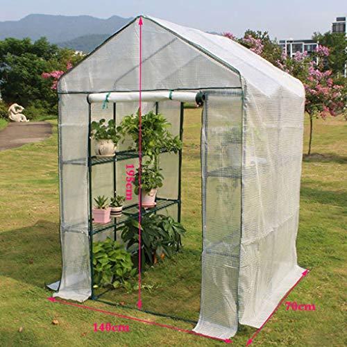 XY&CF-Flower house Plant Greenhouse PE mesh Cloth All Steel Skeleton Double Door Greenhouse Garden (14070195cm) (Greenhouse Door Double)