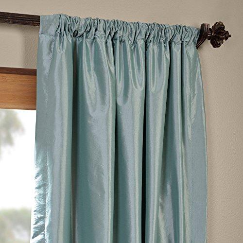 Half Price Drapes PTCH-BO5-96 Blackout Faux Silk Taffeta Curtain, Robin's Egg by HPD Half Price Drapes (Image #3)