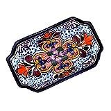 NOVICA Red and Blue Talavera Ceramic Floral Serving Bowl, Radiant Flowers'