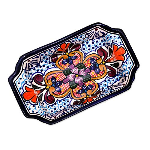 NOVICA Red and Blue Talavera Ceramic Floral Serving Bowl, Radiant Flowers'