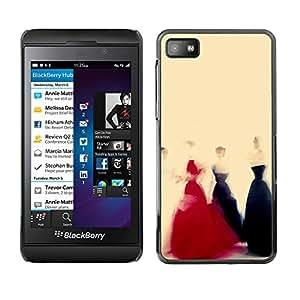 Shell-Star Arte & diseño plástico duro Fundas Cover Cubre Hard Case Cover para Blackberry Z10 ( Red Black Dress Yellow Fashion Art )