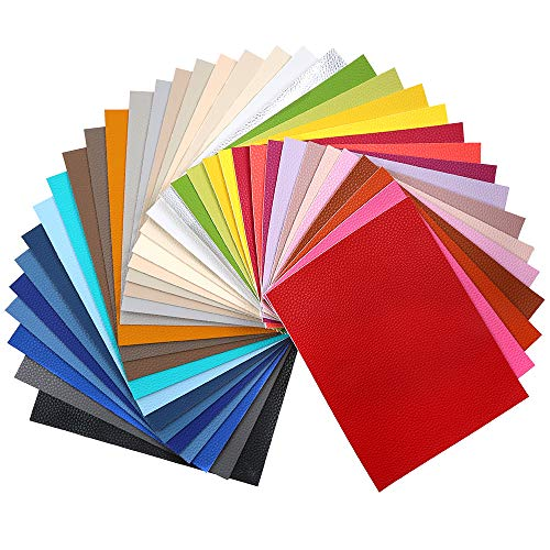 Sntieecr 36 Pieces Assorted Colors PU Leather Fabric Sheets, Litchi Fabric Cotton Back 8.3