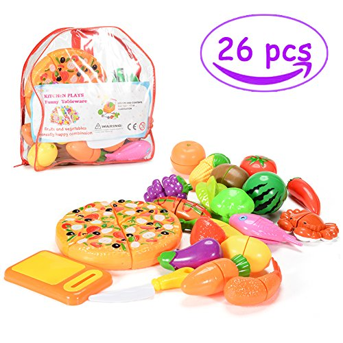 Ftd Sweet - Sakiyr Pretend Cutting Food, 26 PCS Cutting Fruits and Veggies, Kitchen Pretend Play Food Set for Toddlers Educational Toys XMAS-Gift
