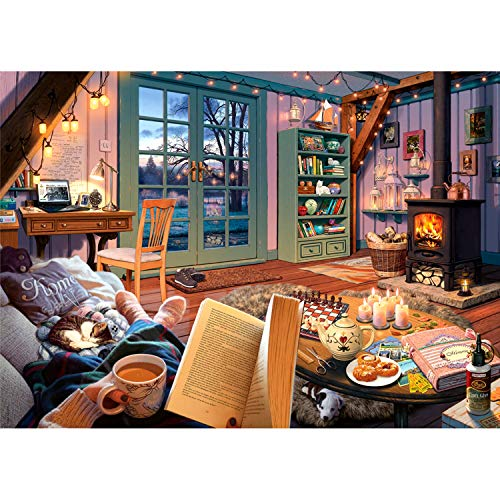 Ravensburger Cozy Series: Cozy Retreat 500 Piece Large Format Jigsaw Puzzle for Adults - Every Piece is Unique, Softclick Technology Means Pieces Fit Together Perfectly