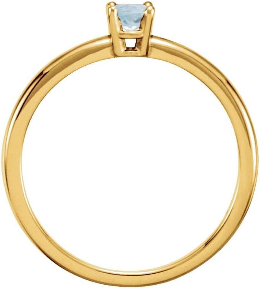 Size 3 Bonyak Jewelry 14k Yellow Gold Imitation Aquamarine March Youth Birth Month Stone Ring