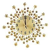 FTVOGUE Reloj de Pared Vintage Flor de Hierro Creativa Colgante de Diamante Montado en la Pared Decoración de Reloj
