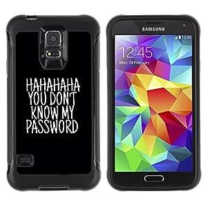 Suave TPU Caso Carcasa de Caucho Funda para Samsung Galaxy S5 SM-G900 / haha password black text unlocked / STRONG