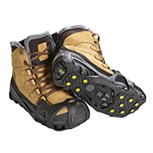SNOTEK Pro Winter Ice Grips for Shoes and Boots - 11 Traction Cleats for Snow and Ice, StayON Toe, Reflective Heel