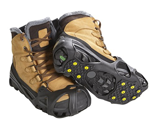 ICETRAX Pro Winter Ice Grips for Shoes and Boots - 11 Traction Cleats for Snow and Ice, StayON Toe, Reflective Heel (Tungsten Grip, S/M (Men: 5-9 / Women: 6.5-10.5))