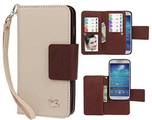 Case for Samsung S4,xhorizon TM FLK Premium Leather Folio Case [Wallet] [Magnetic Detachable] Wristlet Purse Flip Multiple Card Slots Bird Case Cover for Samsung Galaxy S4 i9500 (Beige)