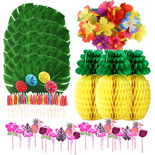 105 PCS Hawaiian Luau Jungle Party Decorations Tropical