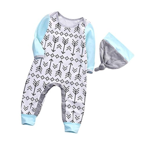 Price comparison product image WuyiMC Toddler Infant Baby Girl Boy Long Sleeve Arrow Romper Jumpsuit Pajamas Outfit + Hat (6-12 Months,  Blue)