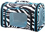 Zebra Cat Dog Soft-Sided Pet Carrier Large, Blue