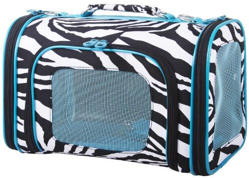 Zebra Cat Dog Soft-Sided Pet Carrier Large, Blue, My Pet Supplies
