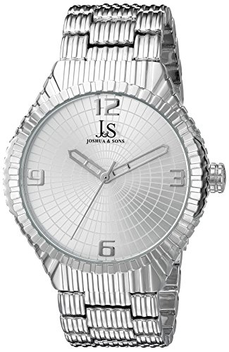 Joshua & Sons Men's JS99SS Silver Quartz Watch with Silver Dial and Silver Bracelet