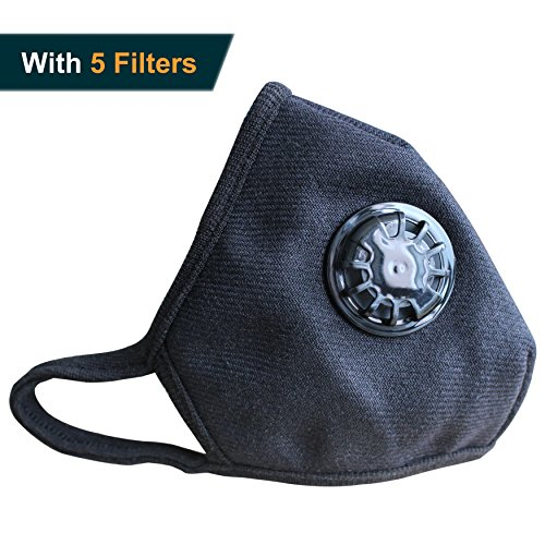 Muryobao Mouth Mask Anti Pollution Mask Unisex Outdoor Protection N99 4 Layer Filter Insert Anti Dust Mask with Valve Filter Black
