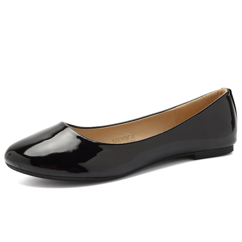 CIOR Women BalletFlats Classy Girls Simple Casual Slip-on Comfort Walking Shoes from Merence,VPDA1,BlackPatent,230