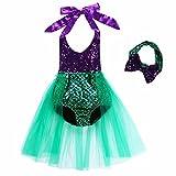 Tsyllyp Baby Girls One Piece Sequins Swimsuit Mermaid Bikini Dress+Headband