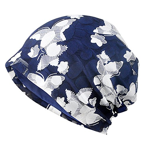 MaxNova Slouchy Beanie Hats Cotton Chemo Cap Turban Headwear Cancer Hats for Women Navy