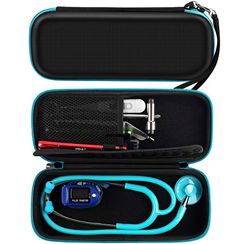 Stethoscope Case for 3M Littmann Classic III/Lightweight II S.E/Cardiology IV Diagnostic, MDF Acoustica Deluxe Stethoscope and More - Extra Room for Nurse Aceesories - Black