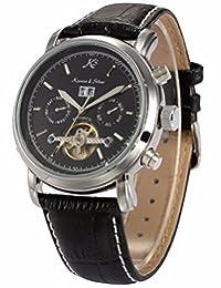 KS Men Genuine Leather Tourbillion Mechanical Classic Black Military Wrist Watch KS003