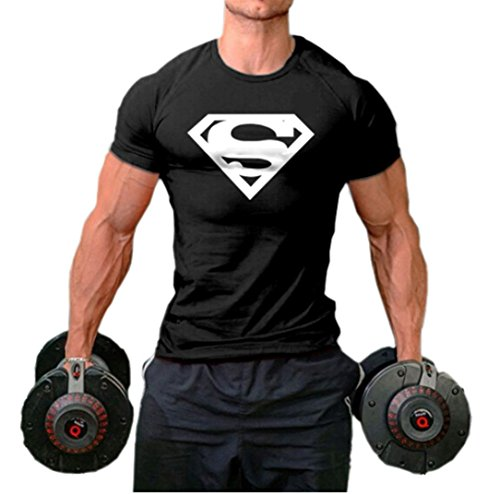 Superman Athletic Shirt - InleaderStyle Men Fittness S Logo Fitness Sport Gym T-Shirt Black L