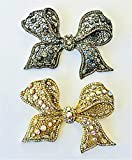 Evelyn Hope Collection Set of Two Lace Silver and Gold Crystal Bow Brooch-Pin-Jewelry-Silver Bow,Crystal Bow,Silver Crystal Bow Tie,Large Bow Brooch,Bow Pin