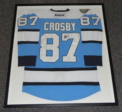 Sidney Crosby Signed Framed Pittsburgh Penguins Blue Jersey JSA (Framed Sidney Crosby Penguins Pittsburgh)