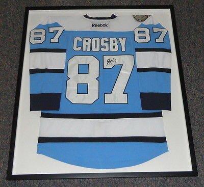 Sidney Crosby Signed Framed Pittsburgh Penguins Blue Jersey JSA (Sidney Framed Pittsburgh Penguins Crosby)