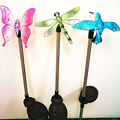 Sogrand 3pcs-Pack Solar Lights Outdoor,Dragonfly,Butterfly and Hummingbird on Stainless Steel Stake,Solar Garden Lights,Solar Light,for Lawn,Patio,Yard,Walkway,Driveway,Pathway
