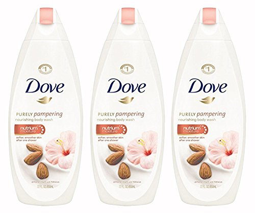 Dove Purely Pampering Body Wash, Almond Cream Hibiscus 22 oz Pack of 3