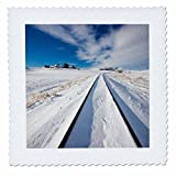 3dRose Danita Delimont - Washington - Washington State, Pullman, Railroad tracks running through the snow - 10x10 inch quilt square (qs_251583_1)