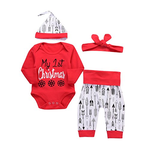 4Pcs Christmas Baby Boy Girls Long Sleeve Snow Romper Bodysuit+Arrow Pant+Hat+Headband Clothes (12-18Months, (Girls Snow Bunny Costume)