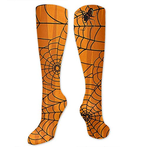 Personalized Knee High Sport Compression Stretch Socks Spider Web Pumpkin Color Non-Slip Hiking Climbing Socks for Pregnancy/Nurses/Maternity/Running/Edema ()