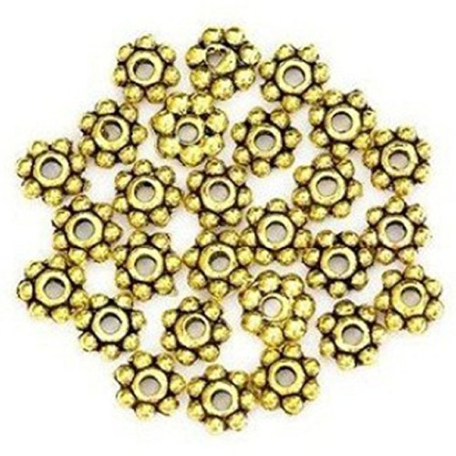 Daisy Rondelle Bead (Kemilove Lots 200pcs Tibetan Daisy Spacer Metal Beads 4mm Jewelry Making (gold))