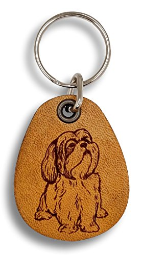 ForLeatherMore - Lhasa Apso - Genuine Leather Keychain - Pet Key Fobs