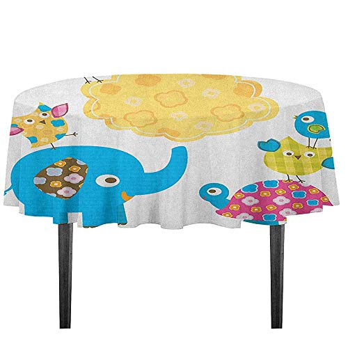 kangkaishi Nursery Waterproof Anti-Wrinkle no Pollution Diverse Cartoon Happy Animals Tortoise Elephant Lovely Yellow Cloud Drawing Style Outdoor Picnic D35.4 Inch Multicolor
