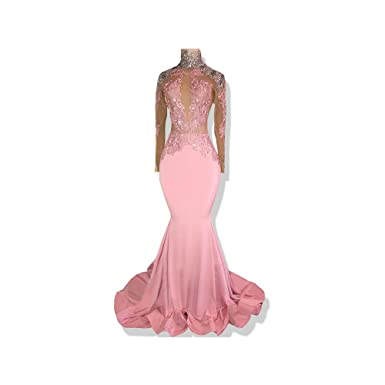 0b03715a866 FIGHOUOR Sexy Long Red Prom Dresses 2018 Sheer Nude Lace Top Long Sleeve  Mermaid Prom Dress at Amazon Women s Clothing store