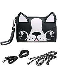 BMC Cute Animal Face Purse for Girls Teens Women - 3 Detachable Straps for Casual Crossbody Bag, Clutch Wristlet, & Evening Shoulder Handbag - PU Faux Leather - Various Dog, Cat, and Bear Designs