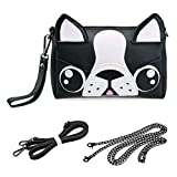 BMC Cute Animal Dog Puppy Face Purse for Girls Teens Women - 3 Detachable Straps for Crossbody Bag Clutch Wristlet Shoulder Handbag - PU Faux Leather - Black/White Boston Terrier Design
