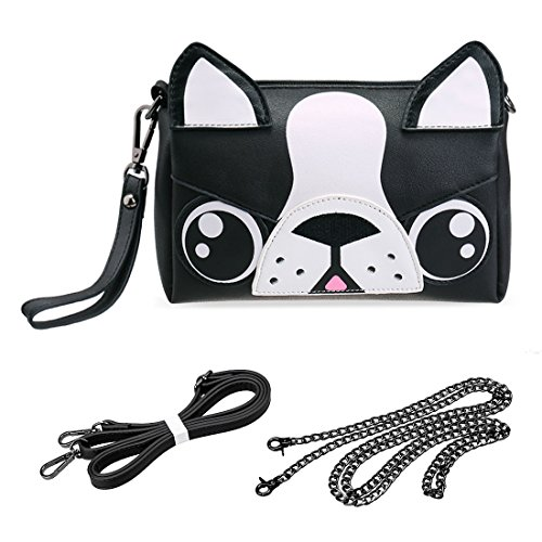 (BMC Cute Animal Dog Puppy Face Purse for Girls Teens Women - 3 Detachable Straps for Crossbody Bag Clutch Wristlet Shoulder Handbag - PU Faux Leather - Black/White Boston Terrier Design)