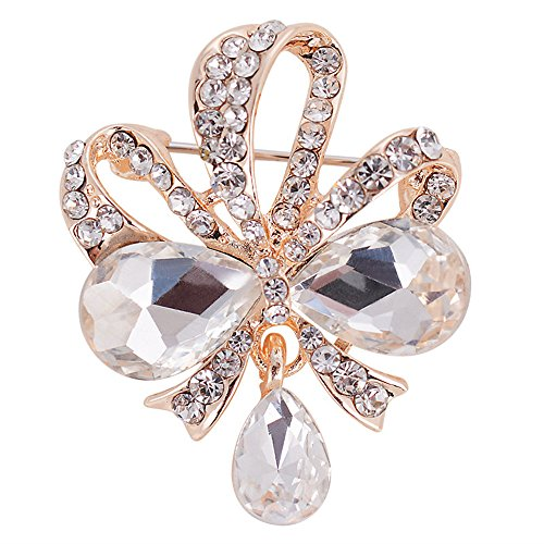 Teardrop Shape Key (Reizteko Crystal CZ Art Deco Floral Vine Flower Shape Pendant Tear Drop Brooch Gold-Tone (Butterfly Knot White))
