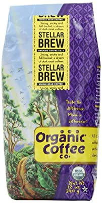 The Organic Coffee Co. Whole Bean, Stellar Brew, 12 Ounce (Pack of 3)