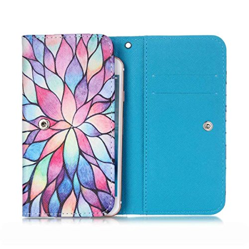 BLU Advance 4.0L Case,Universal Wallet Clutch Bag Carrying Flip Leather Smartphone Case with Card Slots for BLU Advance 4.0L-Painting Colorful Flower - 4l Clutch
