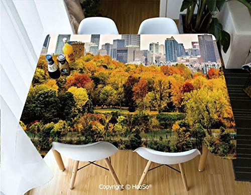 HooSo Fabric Rectangular Table Cloth, Washable Table Cover Perfect for Christmas, Thanks Giving, Dinner Parties, BBQ and Everyday Use,Fall,Montreal Downtown Skyscrapers Autumn Various,60