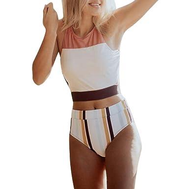 Mujer Bañador con Cuello en V Sexy Bikini de Dos Piezas Falda de ...