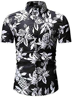 LIUXING-TUMI Camisa Hawaiana de Manga Corta con Botones de Flores for Hombres Talla M L XL XXL 3XL (Color : Negro, tamaño : Metro): Amazon.es: Hogar
