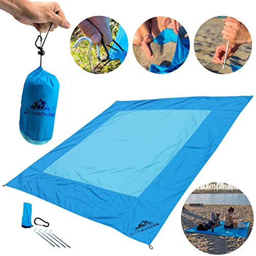Nylon Windproof Umbrella (Big Blue Beach Blanket by AIO- Water, Sand, Wind Resistant - Parachute Nylon - Lightweight, Portable in It's Personal Carry Bag - One of The Best Blankets for a Summer Picnic by The Ocean!)